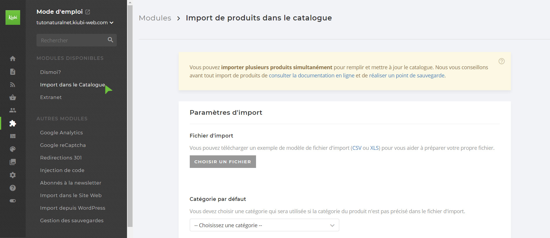 Capture : import catalogue